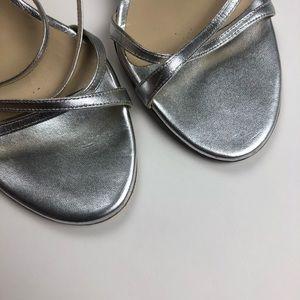 Jimmy Choo Shoes - Jimmy Choo silver leather sandal ankle strap EUC